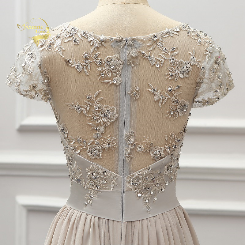 Silver Cap Sleeves Lace Appliques Chiffon Mother Of The Bride Dress