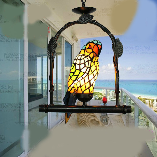 Creative Tiffany Parrot Bird Pendant Light Child Bedroom Lamps For Balcony  Outdoor Home Decoration Hallway Porch