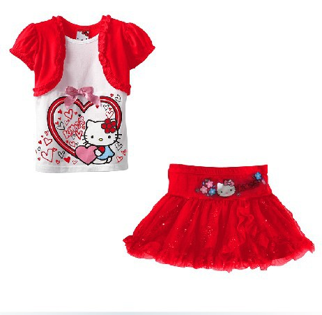 retail 2014 new fashion sport suit clothing set for children baby girl bow clothes,Hello kitty short sleeve T-shirt + dress set retail design children clothing set for kids girl dark blue cardigan t shirt pink skirt high quality 2014 new free shipping