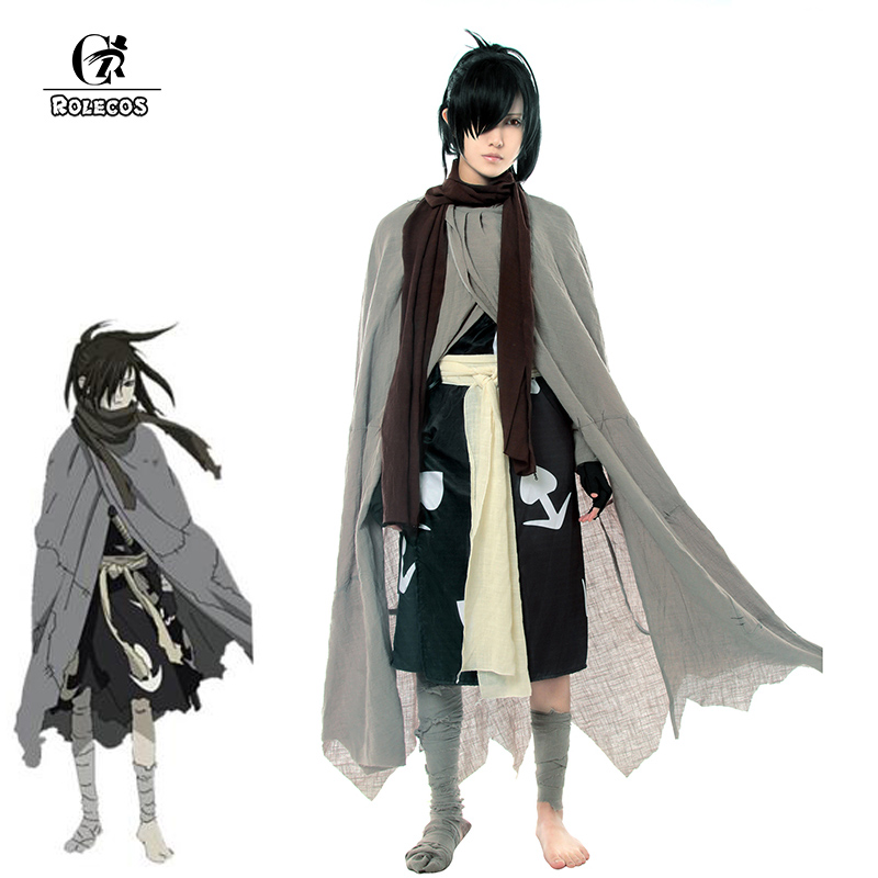 ROLECOS Janpnese Anime Dororo Cosplay Costume Hyakkimaru Kimono Cosplay Costume Halloween Men Cloak Costume Full Set