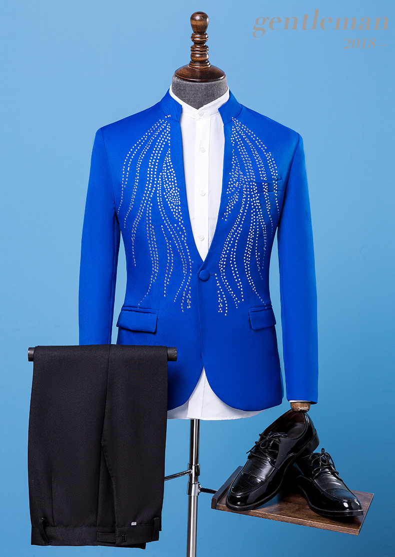 Jacket+pants Formal Men Suits Blue Rhinestones Suit Singer Chorus Prom Compere Master for Wedding Host Performance Costumes CD50