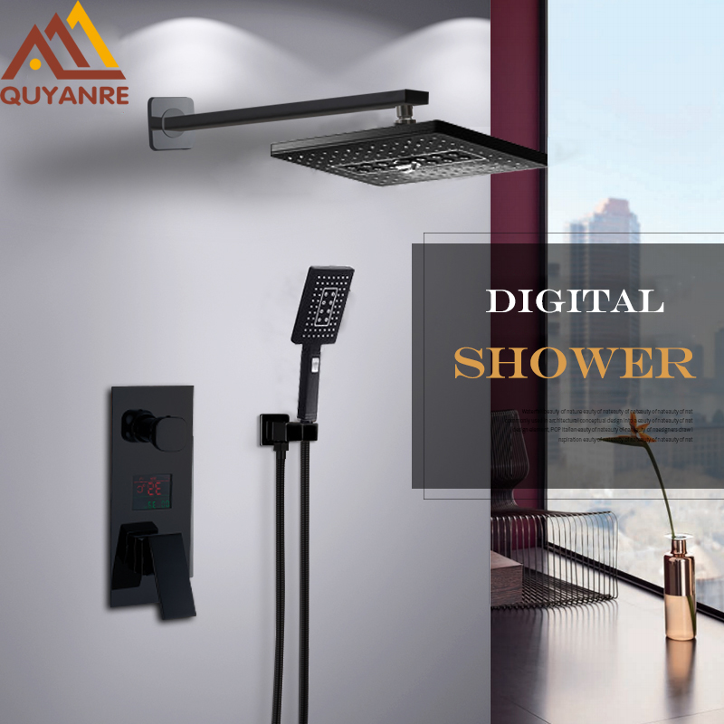 Quyanre Black LED Bathroom Shower Faucets Rainfall Shower Head With 2-way Digital Temp Display Shower Mixer Concealed Shower