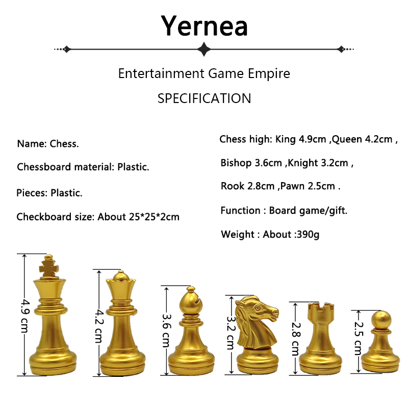 Yernea High-quality Magnetic Chess Game Set New Folding Chessboard Plastic Magnetic Chess Pieces Gold and Silver Color Pieces 1