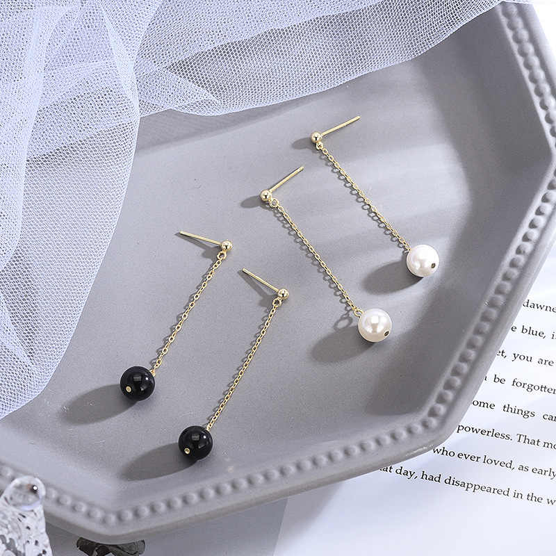 INALIS New Elegant Chic Long Chain Ear Line 925 Sterling Silver Drop Earrings White Black Bead Dangle Brincos for Women Party