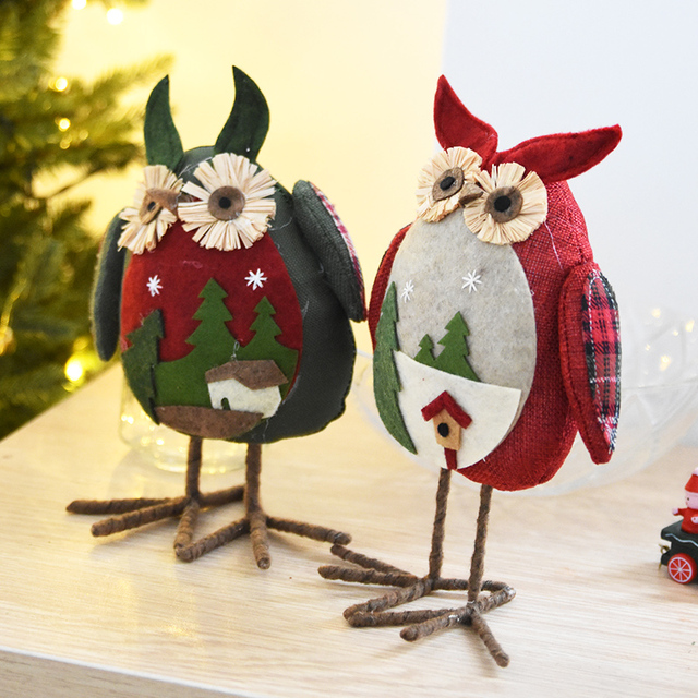 new arrival christmas big eye owl plush xmas ornament home party decor christmas decorations for home