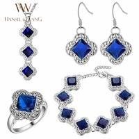Hansel & Wang Praça Da Moda Trevo CZ Diamantes de Prata Banhado Colar Brincos Pulseiras Anéis para Mulheres Jóias Set 2JS21
