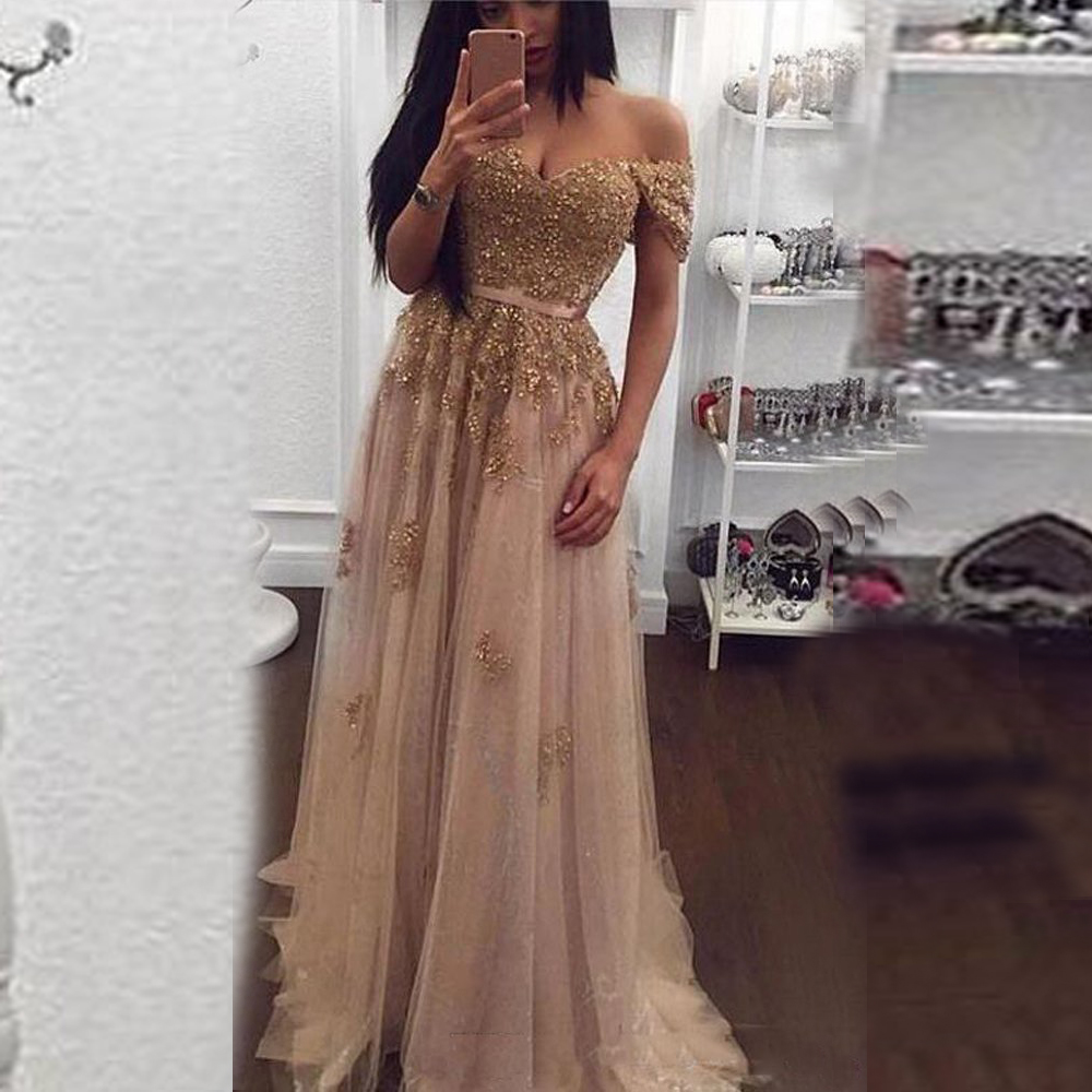Sexy Off The Shoulder Champagne   Prom     Dresses   A Line Floor length Tulle Long Women Formal Evening Gowns Vestido De Noiva Long