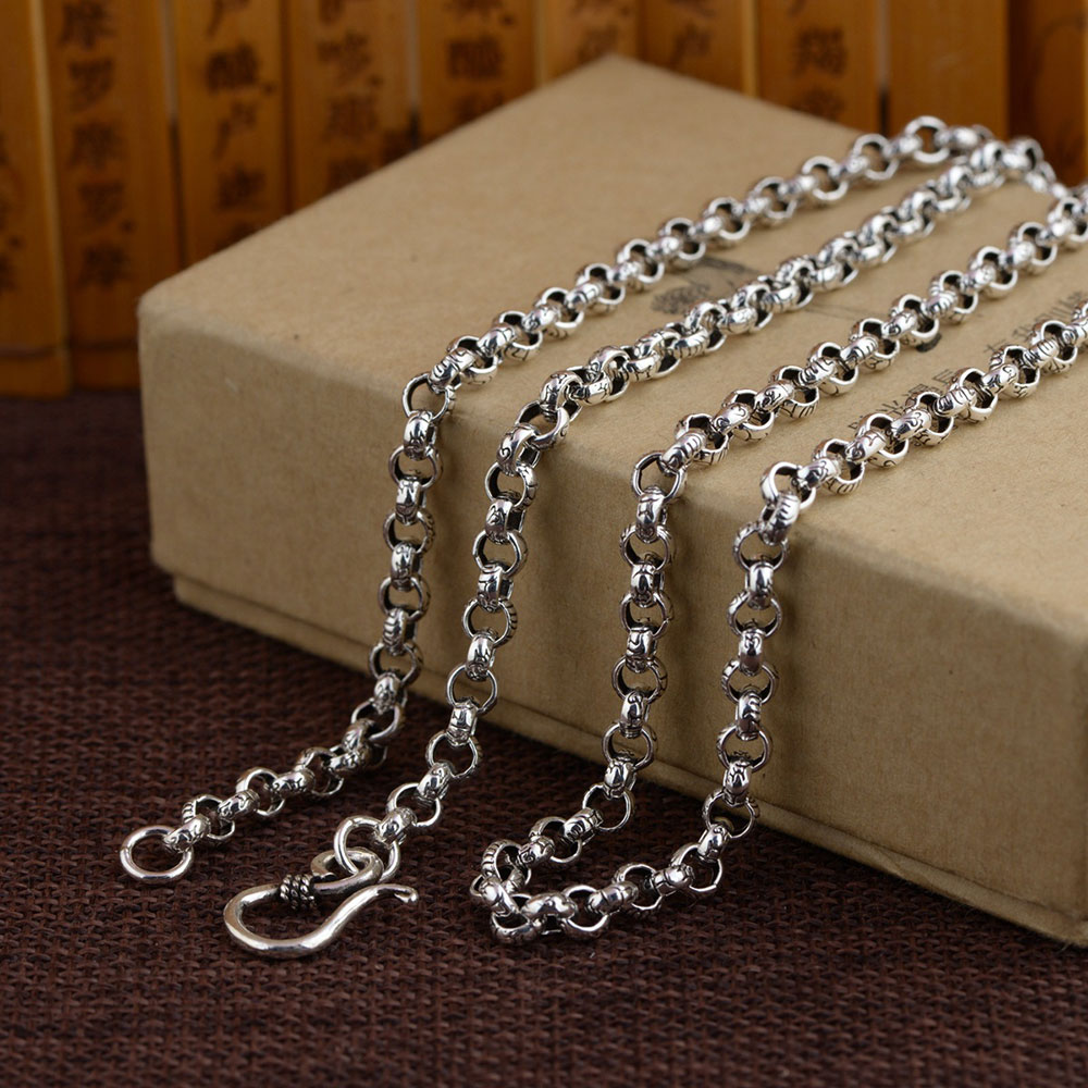925 Silver Link Chain Necklace for Women Accessorice 5mm 6mm 50cm to 80cm Chain S925 Thai Solid Silver Jewelry Making Necklaces solid silver 925 bold link chain necklace for mens 5mm thick chunky necklace simple style 100