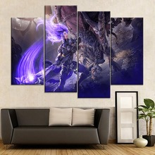 цена на Wall Decor Framework Or Frameless Canvas Painting 4 Piece Game Darksiders III Fury Greed Modular Style Picture Modern Print Type