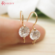 4PCS 21x7MM 24K Champagne Gold Color Plated Brass with Zircon Earring Hooks High Quality Diy Jewelry Findings Accessories