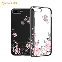 KAVARO For IPhone 7 Plus 8 Plus Case Plated PC Butterfly Flower Swarovski Element Crystals Diamond