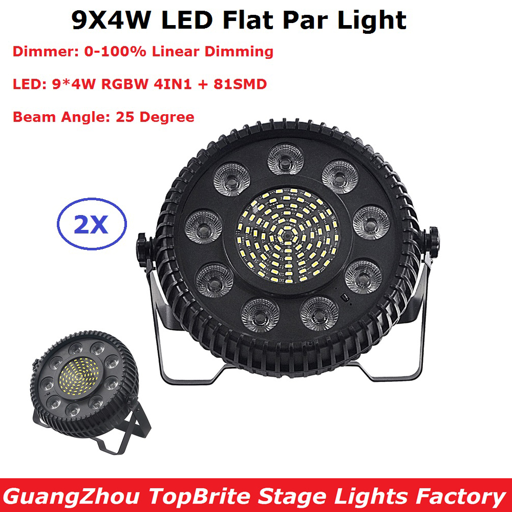 2Pcs/Lot Newest LED Flat Par Lights 9X4W RGBW 4IN1 LED Flat Par Cans With 81Pcs SMD For Party Wedding Disco Events Lighting
