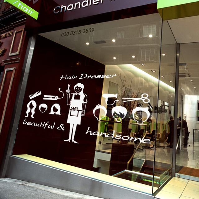 buy beauty salon barber shop wall stickers window glass decoration stickers. Black Bedroom Furniture Sets. Home Design Ideas