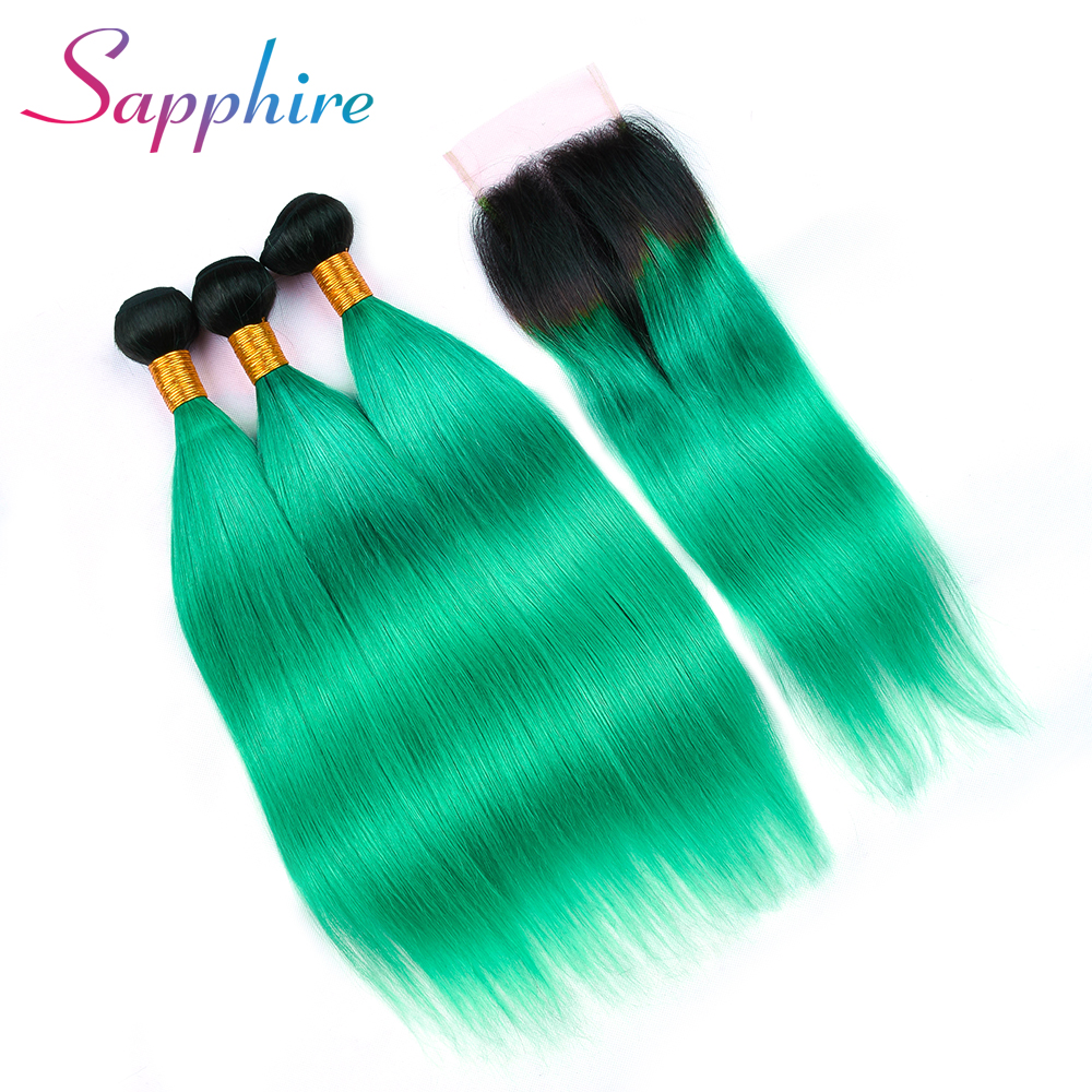 Sapphire Peruvian Straight Hair Bundles With Closure Human Hair Extension 1b Green Weave 10-28 inches Non Remy