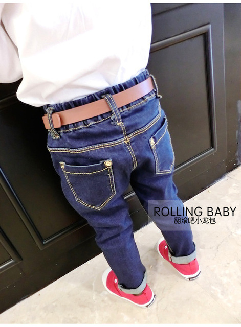 jeans for kids Fashion denim clothing baby boy jeans for children brand slim casual pants Send the belt