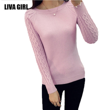 Liva Gril Hot Knitted Pullovers women sweaters 2017 Autumn Winter Casual O-Neck Twist long sleeve Outwear Pathwork sweater women