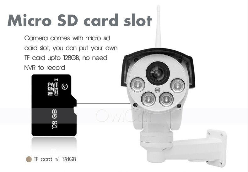 OwlCat HD 5MP Surveillance Pan/Tilt WiFi IP Camera PTZ 5x 10x Optical Zoom Outdoor Wireless Home Security Camera TF SD Card 128G