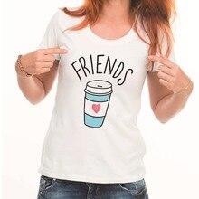 LUSLOS Best Friend series Women Summer T Shirt coffee doughnut  Top Tees ladybro Sworn Followers Casual Short Sleeve