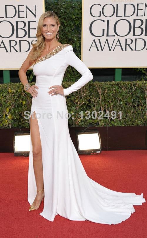 cbed3834492 Heidi Klum Golden Globes Red Carpet One Shoulder Long Sleeve White Slit  Side Bandage Celebrity Evening Gown-in Celebrity-Inspired Dresses from  Weddings ...