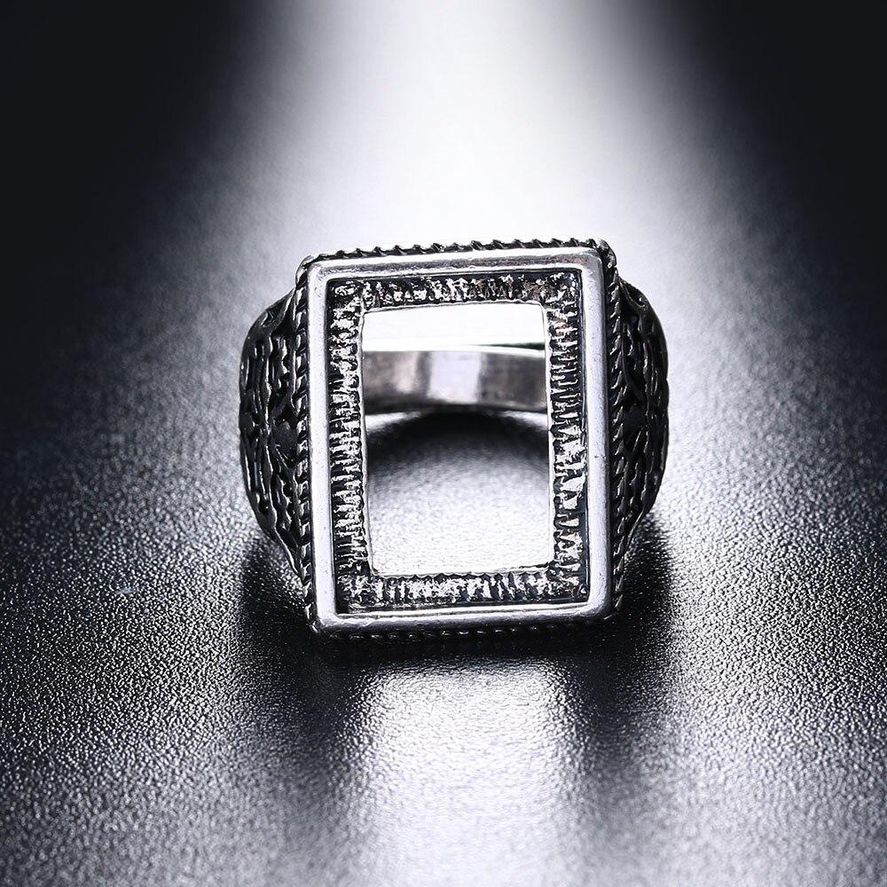 Schneidig 1 Pc Neue Mode Antikes Silber Überzogene Runde Rechteck Aushöhlen Ringe Einstellbar Intarsien Wachs Ring Blanks Einstellungen Retro Jewlery