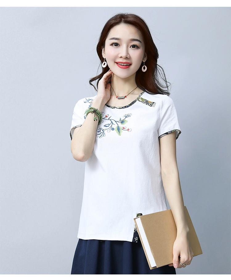 Embroidery women sweet floral embroidery T shirt o neck short sleeve black tees ladies summer casual brand tops camisetas 44