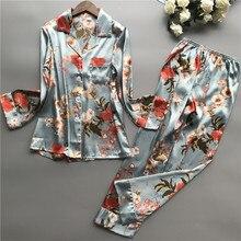2020 nova primavera outono ponto pijamas conjunto de seda sensação pijamas pijamas para mulher pijamas feminino