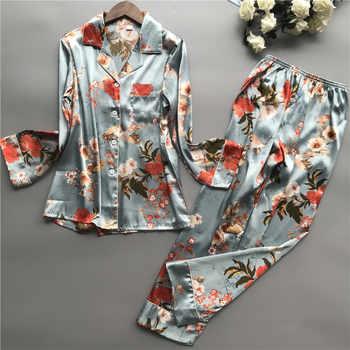 Print Pyjamas Women 2019 New Spring Fall Stitch Pijamas Set Silk Feeling Sleepwear Pajamas for women Pijama Feminino Pyjama - DISCOUNT ITEM  18% OFF All Category