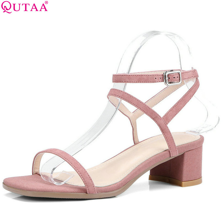 QUTAA 2018 Women Pumps Casual Square Toe Women Shoes Platform Cow Suede Square High Heel Westrn Style Ladies Pumps Size 34-40 women s high heels women pumps sexy bride party square heel square toe rivets high heel shoes