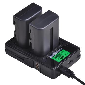 Batería NP-FM500H NP FM500H FM500H cargador USB Dual LCD para Sony Alpha...