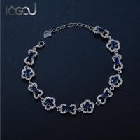IOGOU 925 Sterling Silver Bracelet Sky Blue Stone Flower Design Chain Bracelet Women Accessary Jewelry Wholesale Lover' Bracelet