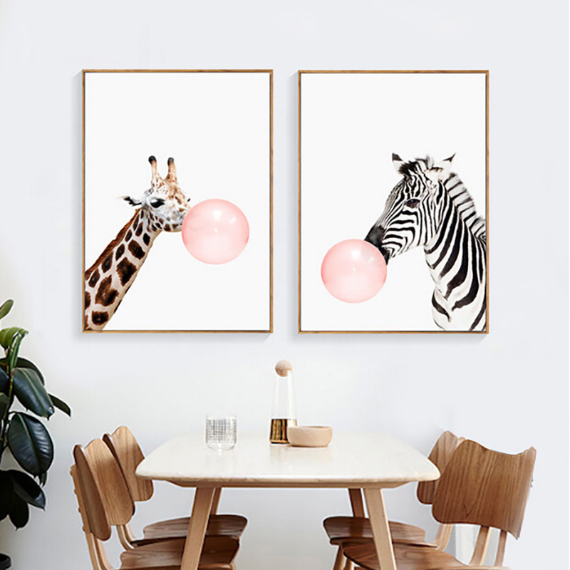 Modern pink balloon nordic cartoon zebra cute kids room decor art canvas painting warm family - Modern kids wall decor ...