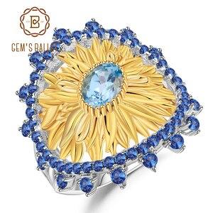 Image 1 - باليه جيمز 1.00Ct الطبيعية السويسري الأزرق توباز خواتم عباد الشمس 925 فضة خاتم يدوي للنساء بيجو مجوهرات راقية