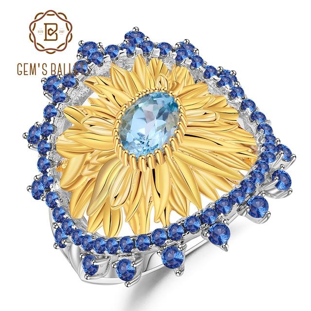 GEMS balet 1.00Ct naturalny szwajcarski niebieski topaz pierścienie słonecznika 925 srebro pierścionek ręcznie robiony dla kobiet Bijoux Fine Jewelry