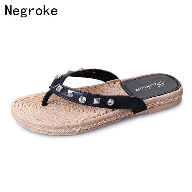 2018 New Arrival Women Slippers Flip Flops Rhinestone Sandals Bohemian  Style Slip On Platform Shoes Woman 6bfdbc7b058e