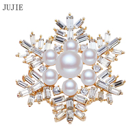 Christmas Valentines Pearl Snowflake Brooch For Women Bridal Wedding Collar Crystal Rhinestone Flower Brooch Fashion Jewelry
