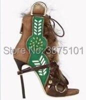 Пикантные роскошные босоножки на высоком каблуке женские ботильоны ботинки на шнуровке глубокий носком Меховые Туфли лодочки