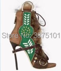 Sexy Luxury High Heel Sandals Women Ankle Bootie Lace Up Deep Toe Fur Pumps lace up deep v teddy