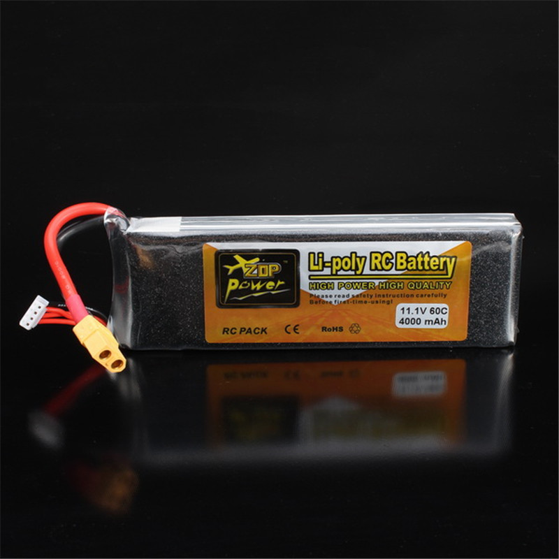 Rechargeable Lipo Battery ZOP Power 11.1V 4000mAh 3S 60C Lipo Battery XT60 Plug