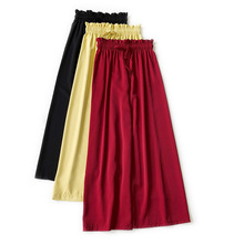AcFirst Summer Women Fashion Chiffon Black Yellow Long Loose Pants Wide Leg Pants High Waist Full Length Female Pants Tie