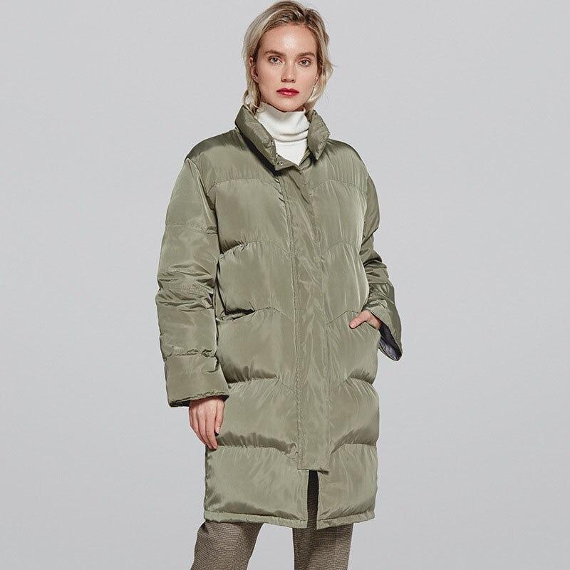 Женская парка с воротником стойкой, длинная водонепроницаемая куртка, верхняя одежда для осени и зимы, 2019