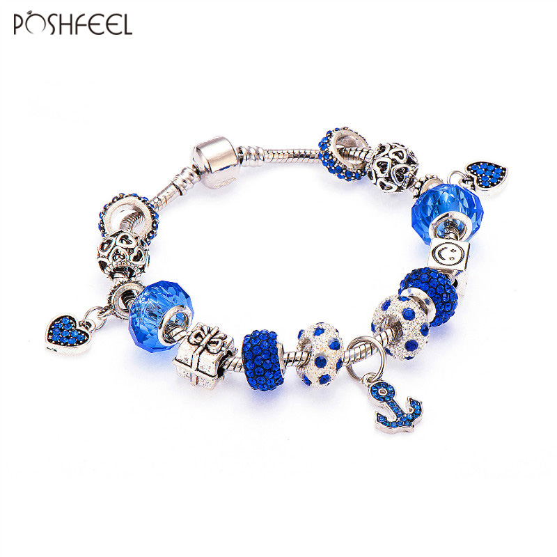 Poshfeel Silver Plated Anchor Bracelet For Women Blue Crystal Charms Bracelets Diy Bead Jewelry Pulseira Mbr170132 anchor cuff bracelets