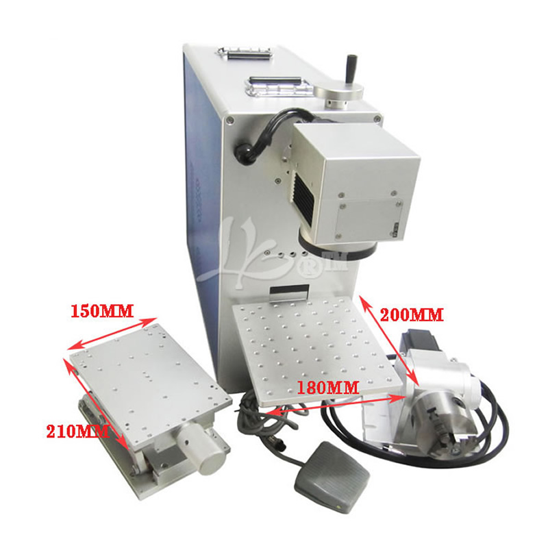 10W 20W Optical Fiber Laser Engraving Machine CNC Laser Cutter with Rotary Axis for 3D Metal Marking