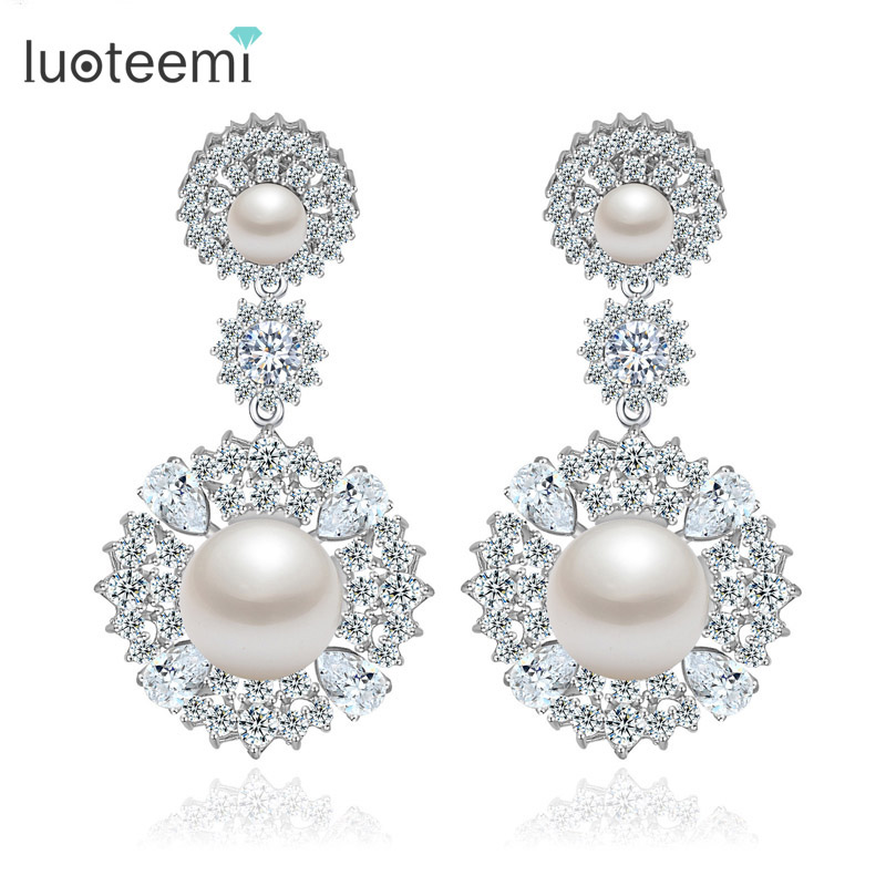 LUOTEEMI Wholesale Fashion Elegant Clear Cubic Zirconia with Created Pearl Wedding Earrings for Women Luxury Accessories шины michelin x ice xi3 235 50 r18 101h xl