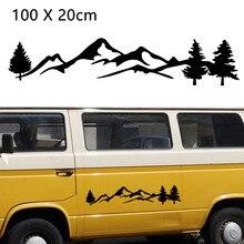 100cm preto/branco árvore de montanha decoração do carro animal estimação floresta adesivo auto decalque para suv rv campista offroad estilo do carro acessórios