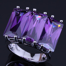 Majestic Huge Rectangle Purple Cubic Zirconia 925 Sterling Silver Ring For Women V0541