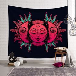 Sun Moon Tapestry Psychedelic Celestial Indian Sun Hippie Hippy Polyster Tapestry Wall Hanging Throw Bedspread Beach Towel