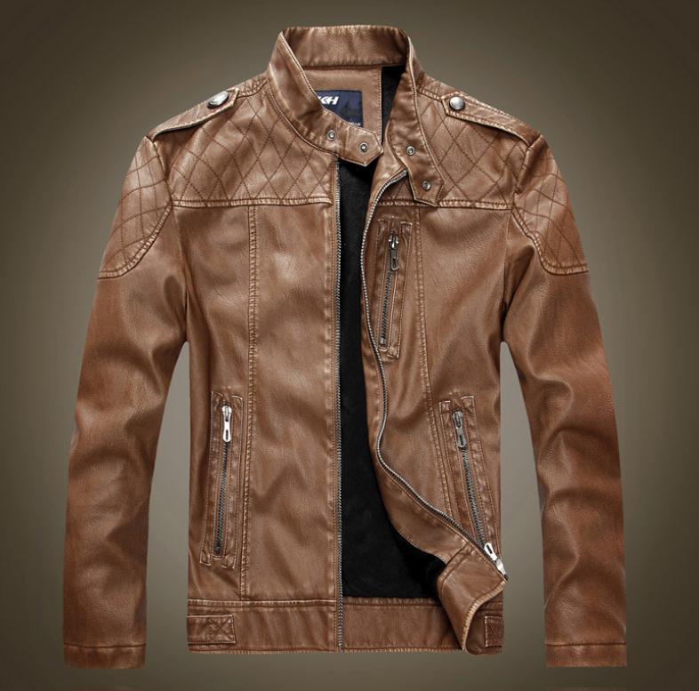 New Leather Jacket Men Jaqueta Couro Masculino Bomber Leather Jacket