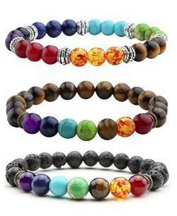 Jewelry Lava Rock Natural stone Matte Natural stone Picture Jasper Mens Womens Bracelet, Energy Beads