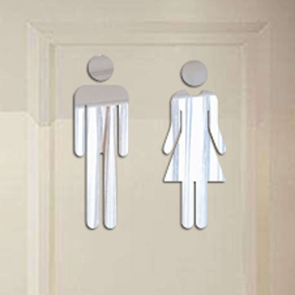 Dropshipping 3D Mirror Sticker Funny Door WC Toilet  Entrance Sign Men Women Bathroom DIY Sticker Decals Bar Home Decor