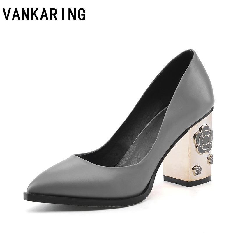 VANKARING shoes fashion soft leather women pumps pointed toe fretwork high heels platform dress red party
